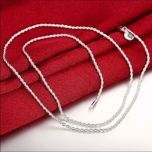 "Jewelry - 24"" New 925 Silver Plated Necklace"